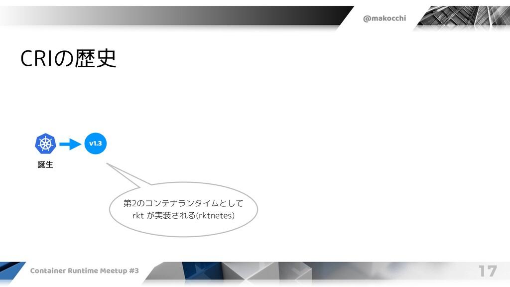 @makocchi Container Runtime Meetup #3 17 CRIの歴史...