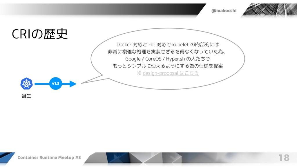 @makocchi Container Runtime Meetup #3 18 CRIの歴史...