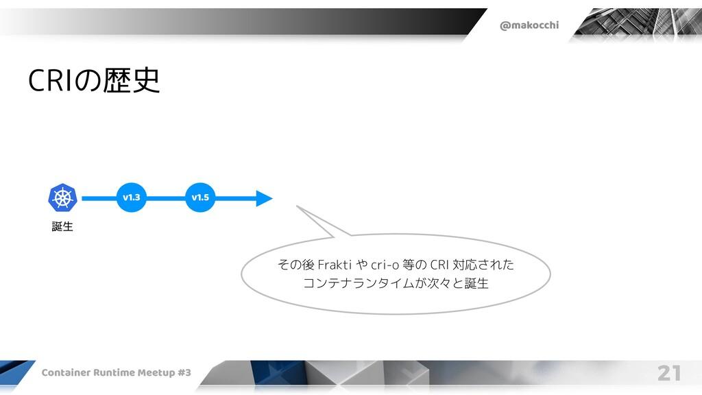 @makocchi Container Runtime Meetup #3 21 CRIの歴史...