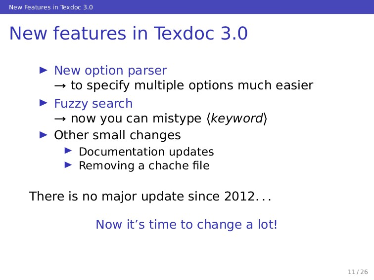 New Features in Texdoc 3.0 New features in Texd...