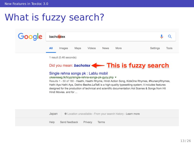 New Features in Texdoc 3.0 What is fuzzy search...