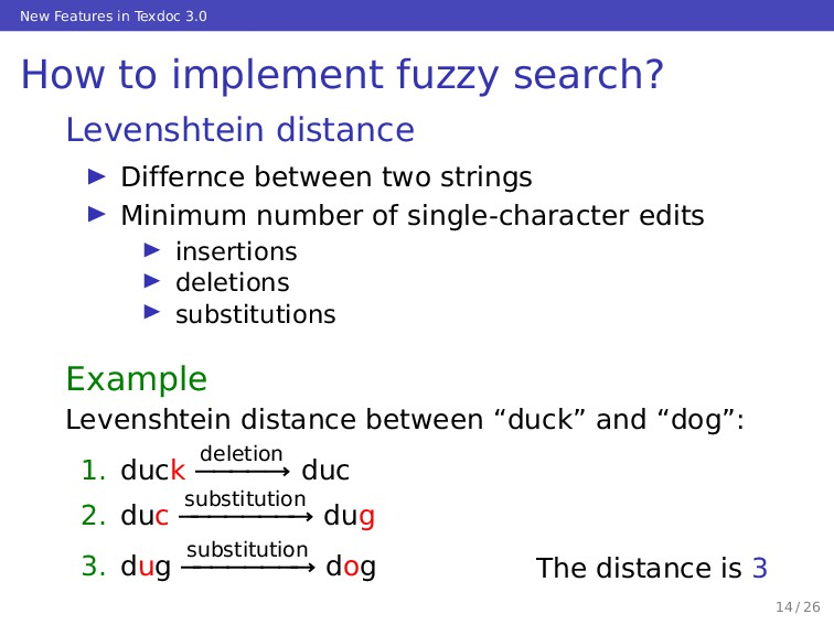 New Features in Texdoc 3.0 How to implement fuz...