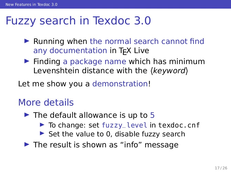 New Features in Texdoc 3.0 Fuzzy search in Texd...