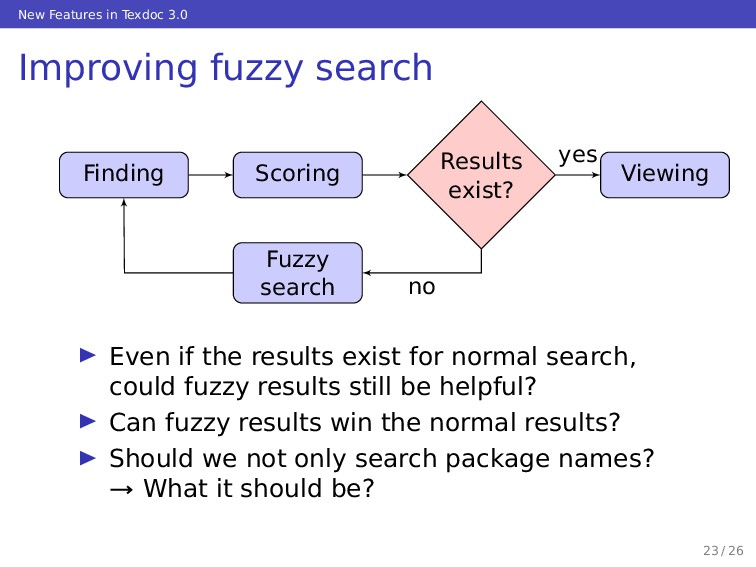 New Features in Texdoc 3.0 Improving fuzzy sear...