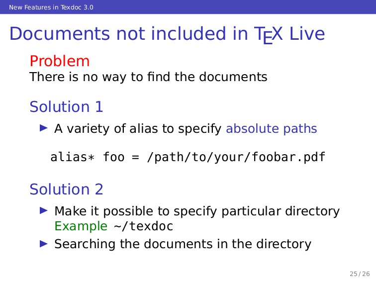 New Features in Texdoc 3.0 Documents not includ...