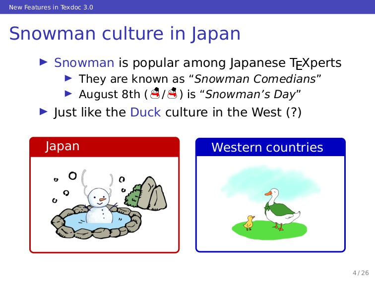 New Features in Texdoc 3.0 Snowman culture in J...