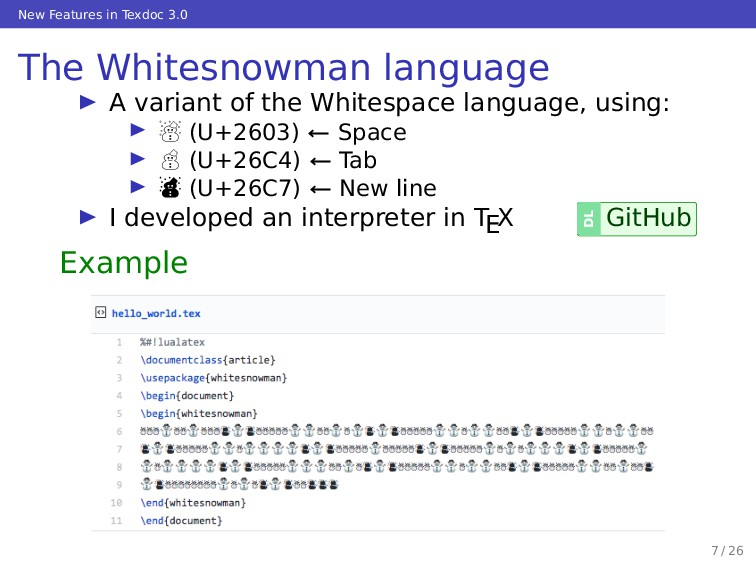 New Features in Texdoc 3.0 The Whitesnowman lan...