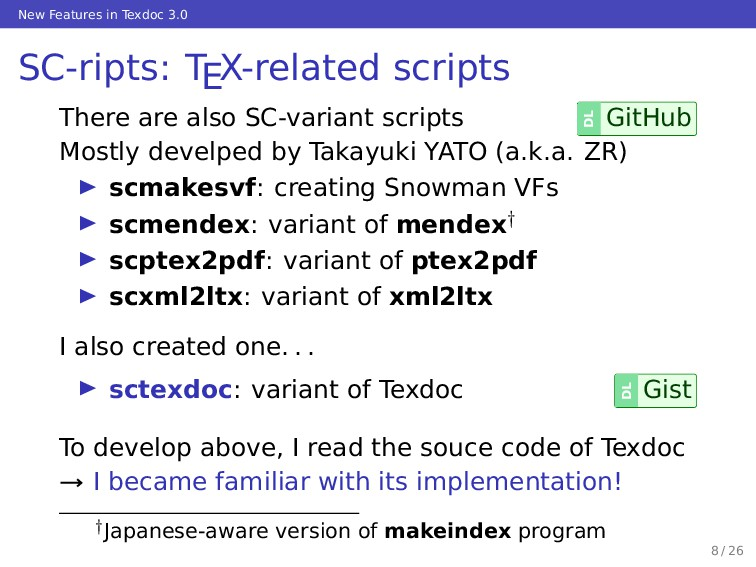 New Features in Texdoc 3.0 SC-ripts: TEX-relate...