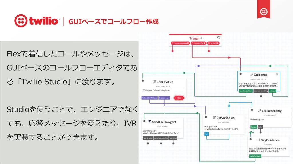 GUIベースでコールフロー作成 Flexで着信したコールやメッセージは、 GUIベースのコール...
