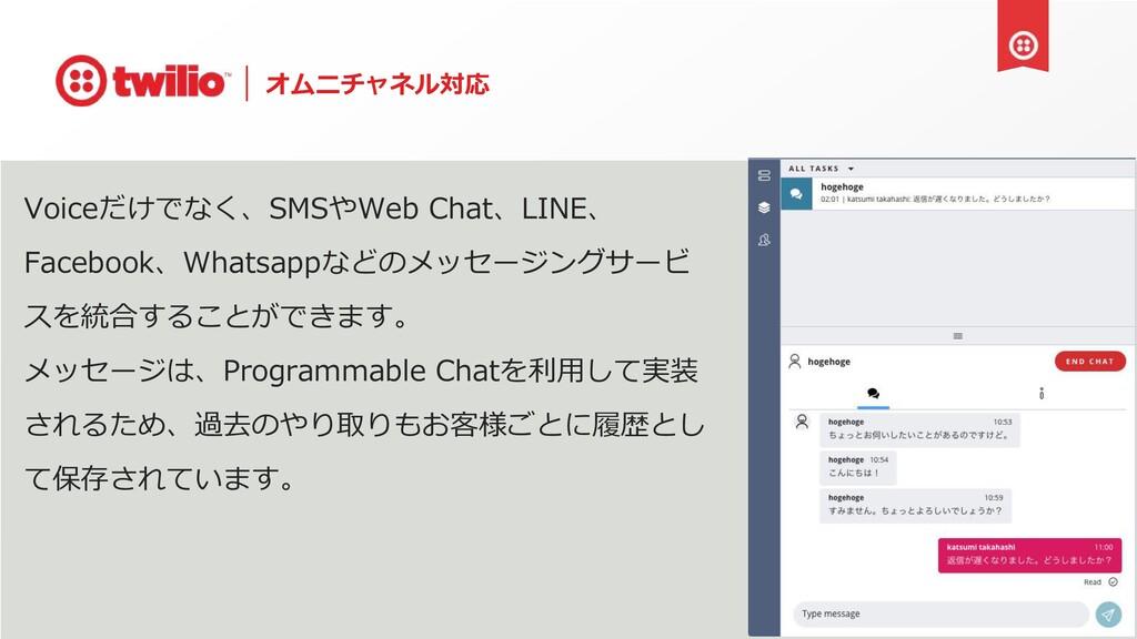 オムニチャネル対応 Voiceだけでなく、SMSやWeb Chat、LINE、 Faceboo...