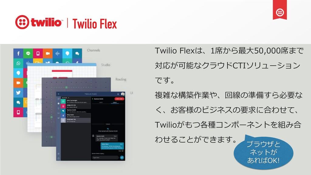 Twilio Flex Twilio Flexは、1席から最⼤50,000席まで 対応が可能な...
