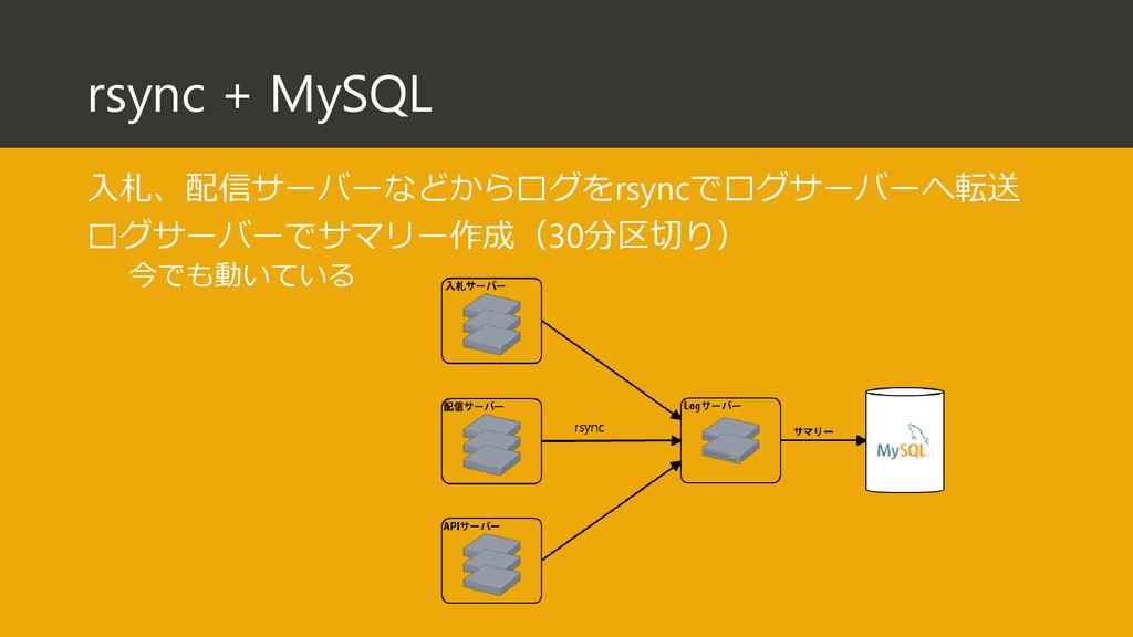 rsync + MySQL 入札、配信サーバーなどからログをrsyncでログサーバーへ転送 ロ...