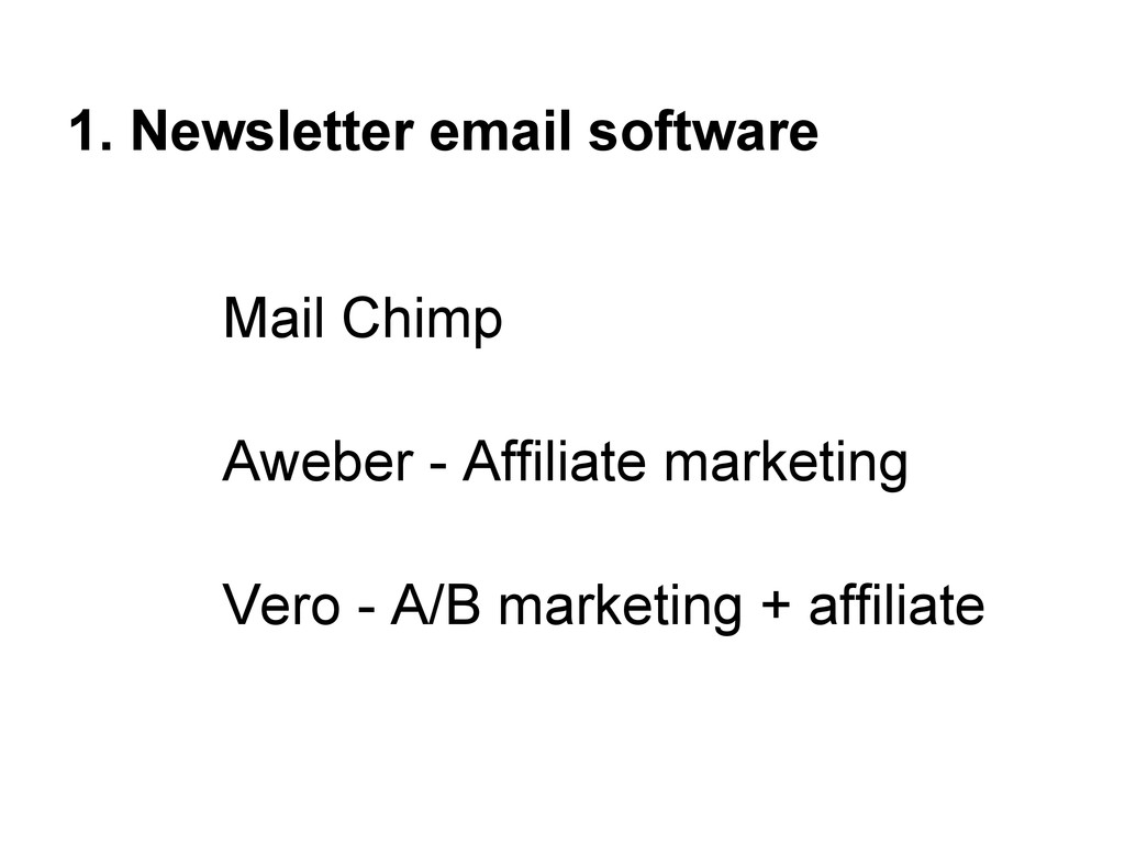 1. Newsletter email software Mail Chimp Aweber ...