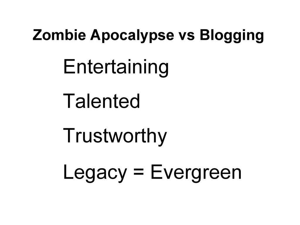Zombie Apocalypse vs Blogging Entertaining Tale...