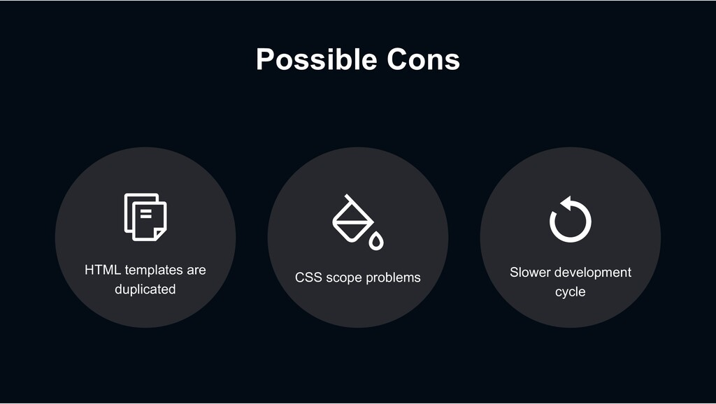Possible Cons CSS scope problems HTML templates...