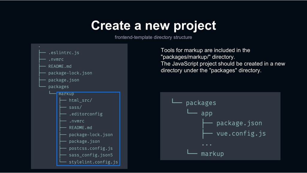 Create a new project frontend-template director...