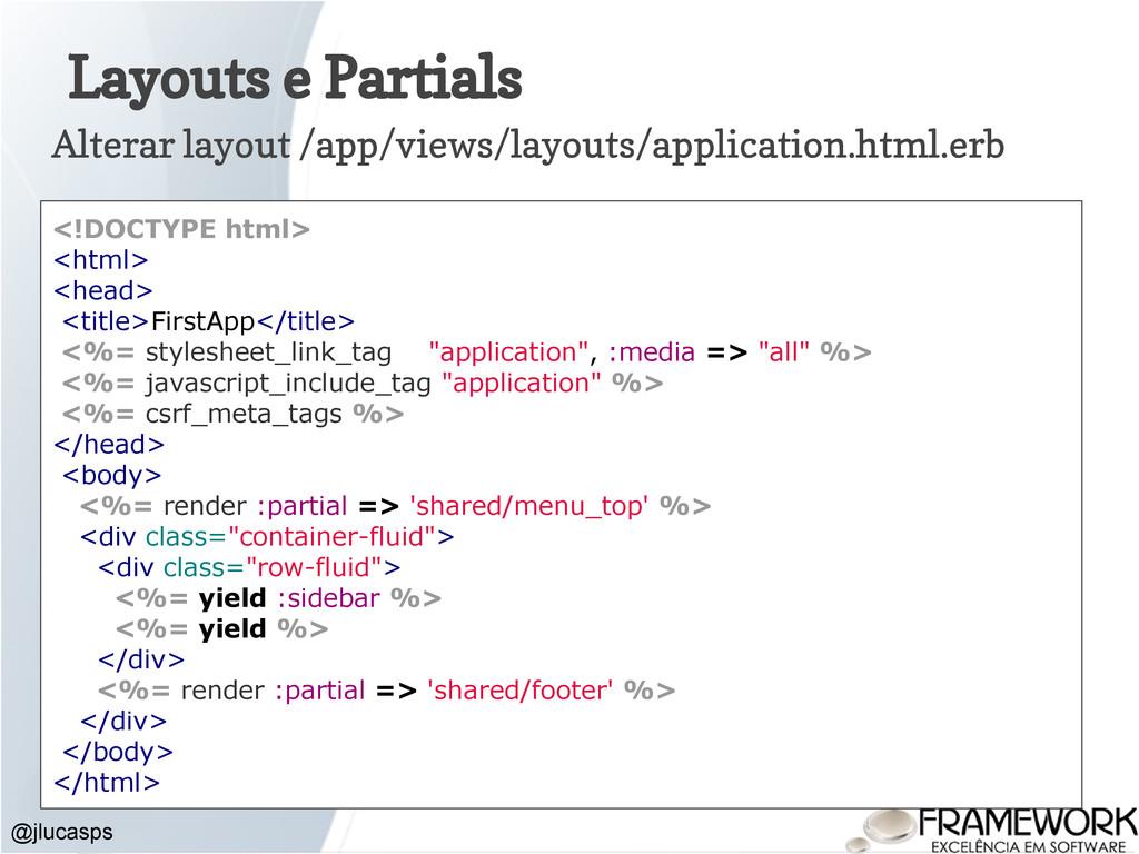 Layouts e Partials @jlucasps Alterar layout /ap...
