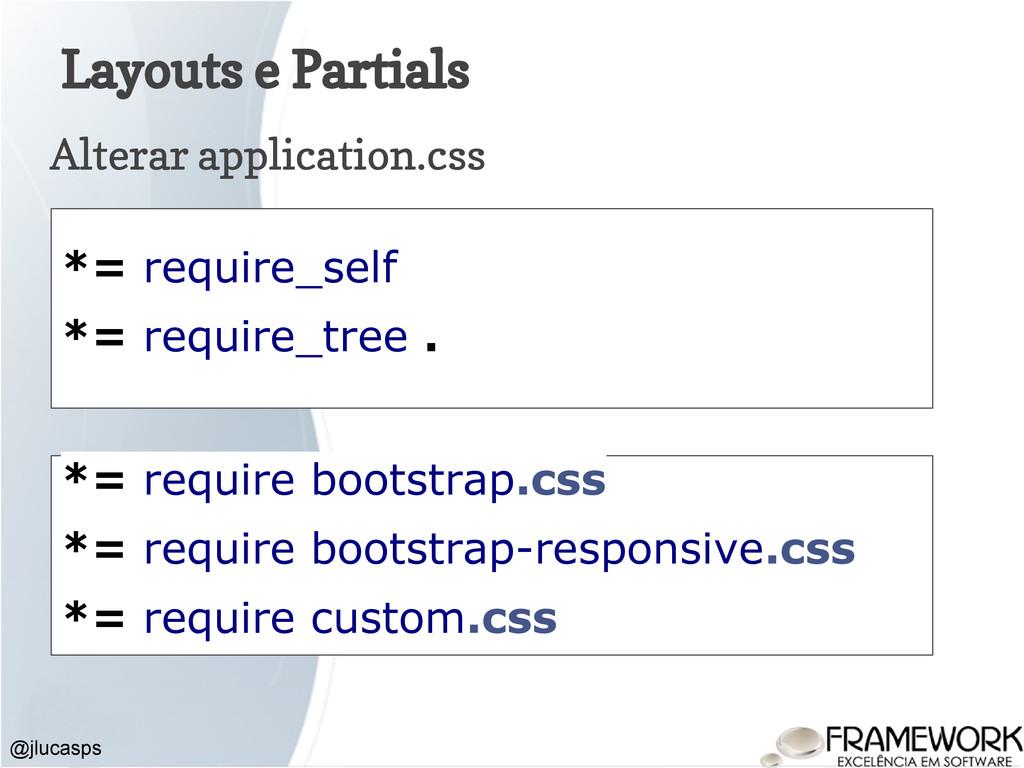 Layouts e Partials Alterar application.css @jlu...