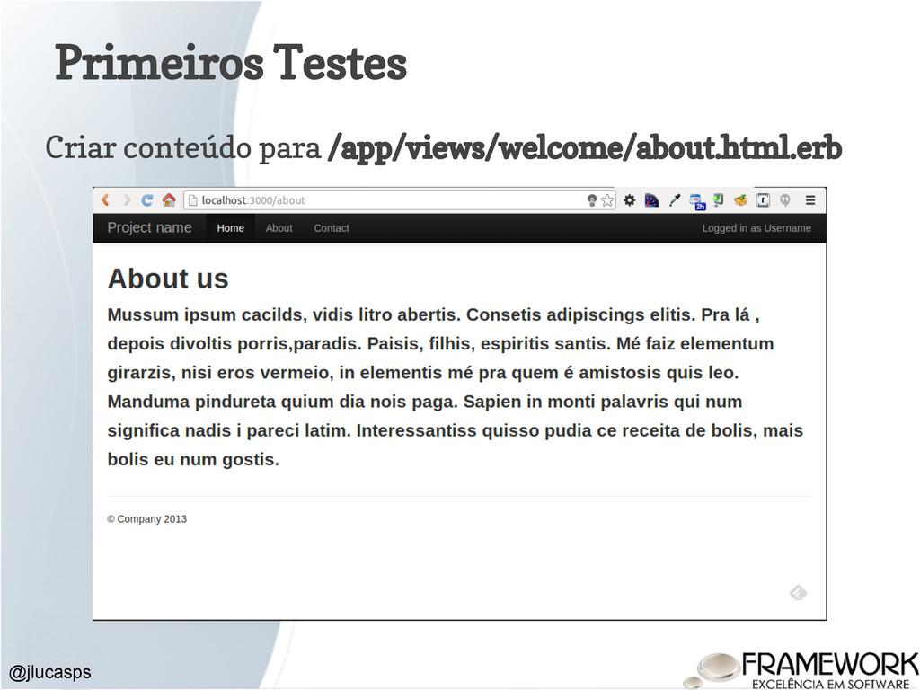 Primeiros Testes Criar conteúdo para /app/views...