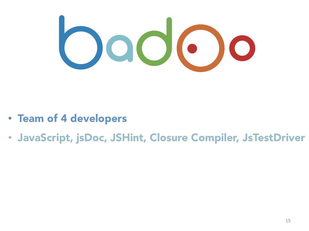 15  • Team of 4 developers • JavaScript, ...