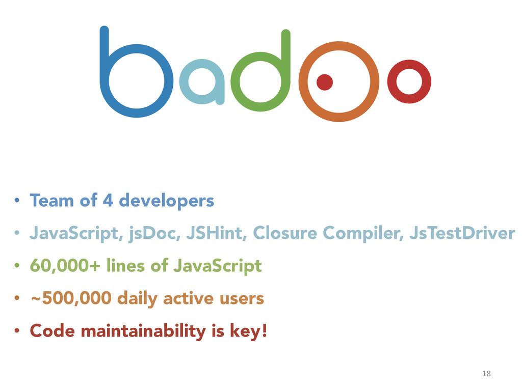 18  • Team of 4 developers • JavaScript, ...