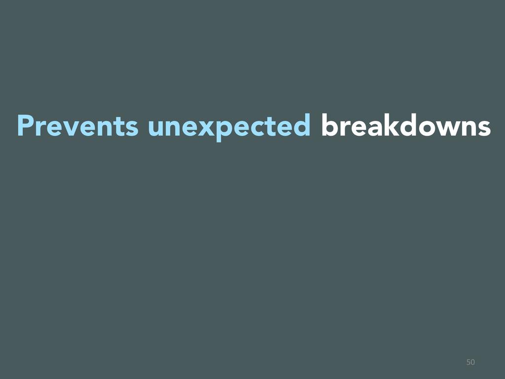 50  Prevents unexpected breakdowns