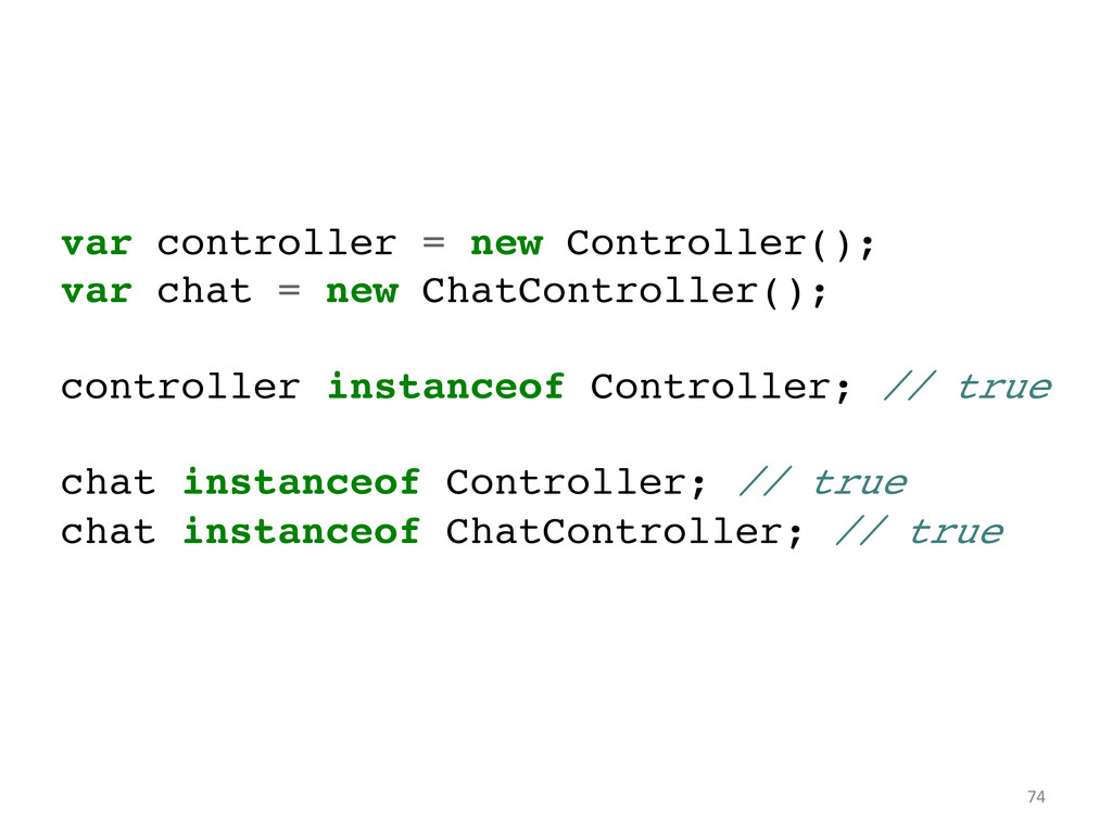 var controller = new Controller();! var chat = ...