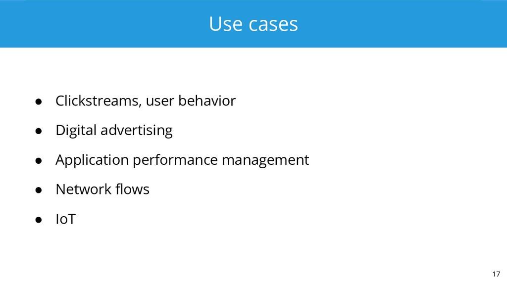 Use cases ● Clickstreams, user behavior ● Digit...