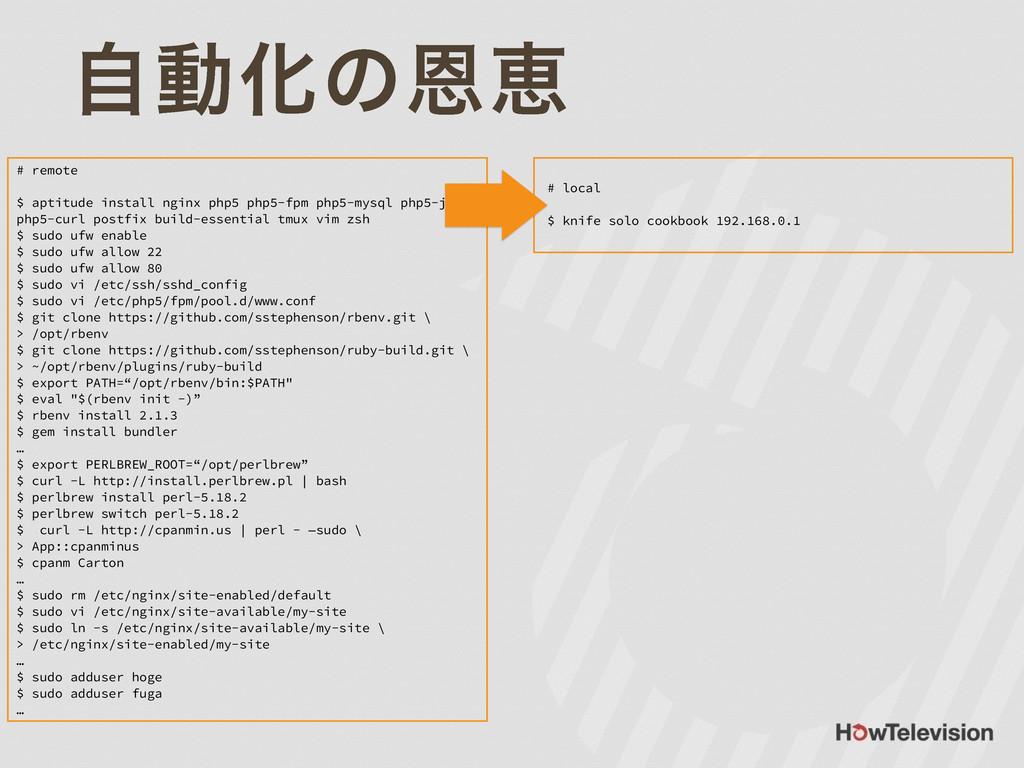 ࣗಈԽͷԸܙ # remote ! $ aptitude install nginx php5...