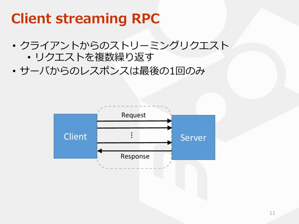 Client streaming RPC • クライアントからのストリーミングリクエスト • ...