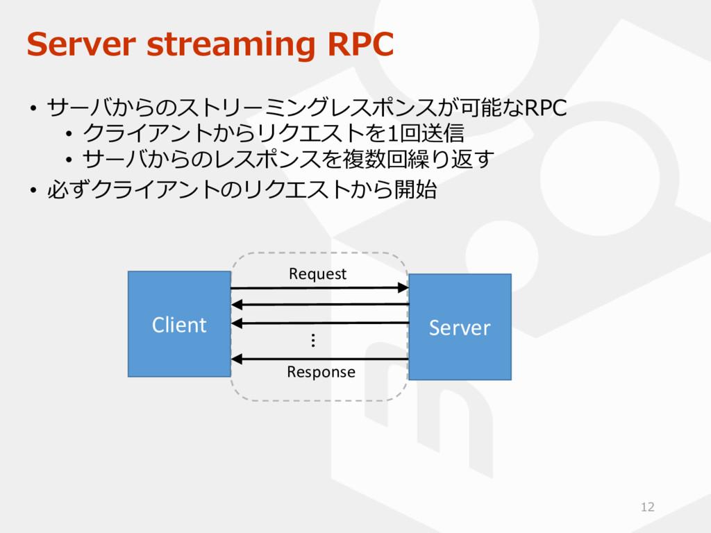 Server streaming RPC • サーバからのストリーミングレスポンスが可能なRP...
