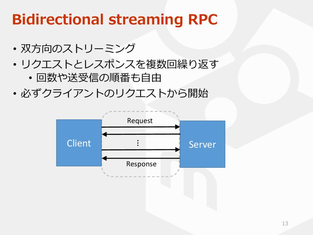Bidirectional streaming RPC • 双方向のストリーミング • リクエ...