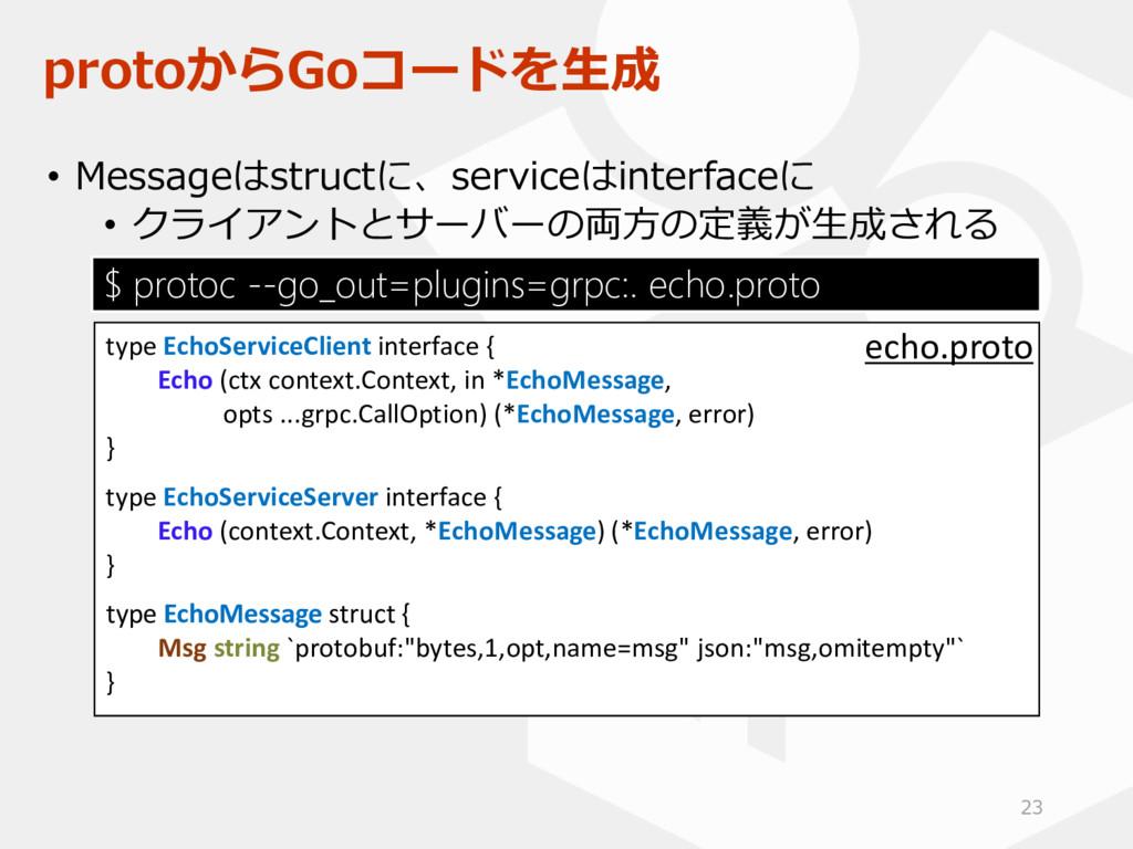protoからGoコードを生成 • Messageはstructに、serviceはinter...