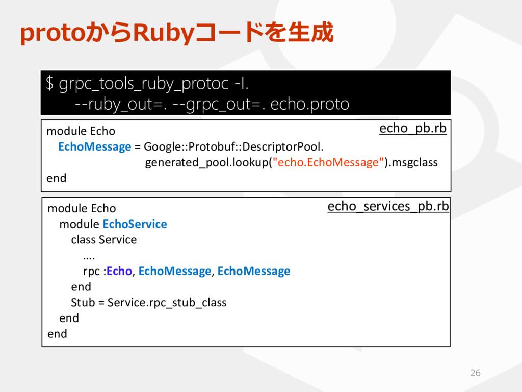 protoからRubyコードを生成 module Echo module EchoServic...