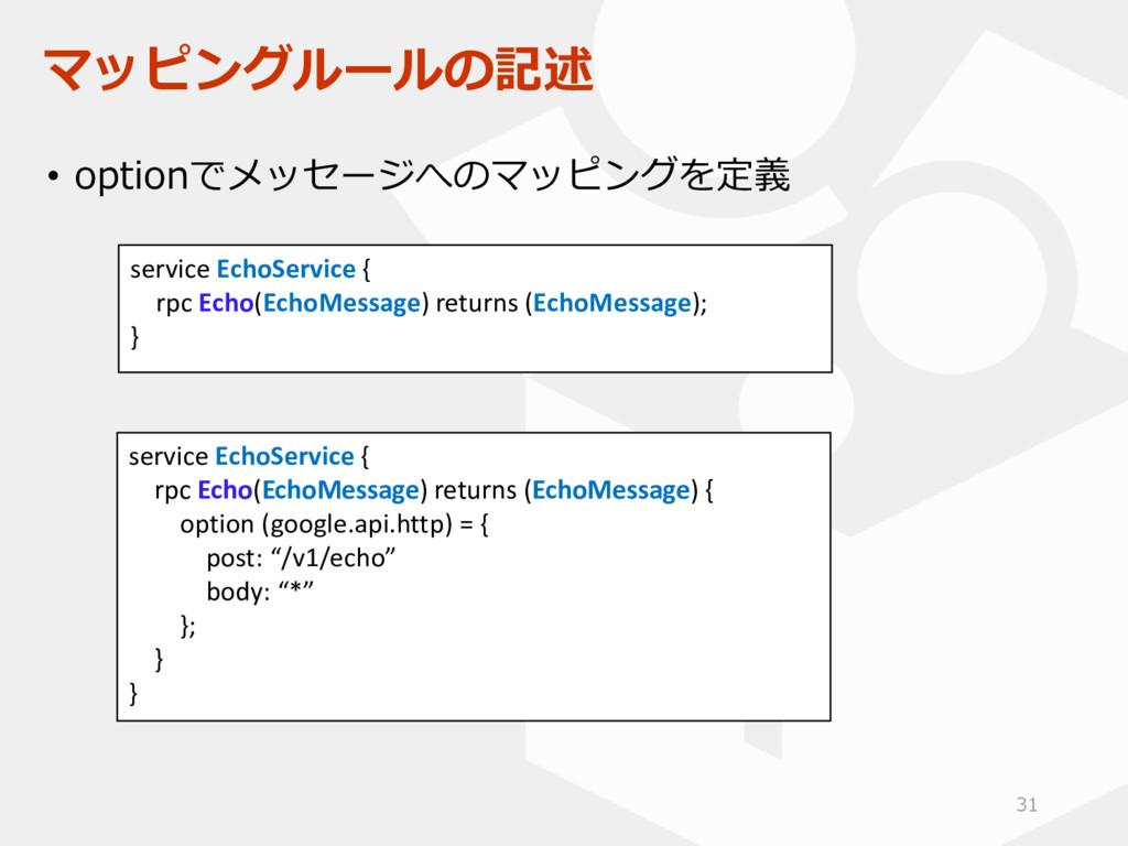マッピングルールの記述 • optionでメッセージへのマッピングを定義 service Ec...