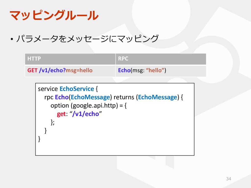 マッピングルール • パラメータをメッセージにマッピング HTTP RPC GET /v1/e...