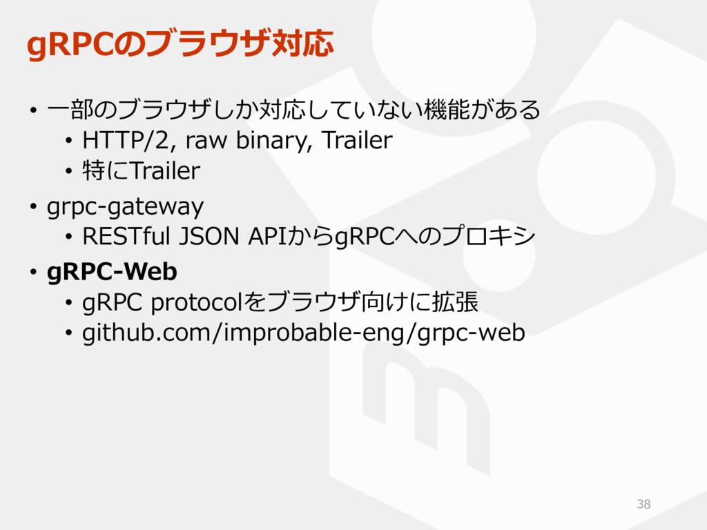 gRPCのブラウザ対応 • 一部のブラウザしか対応していない機能がある • HTTP/2, r...