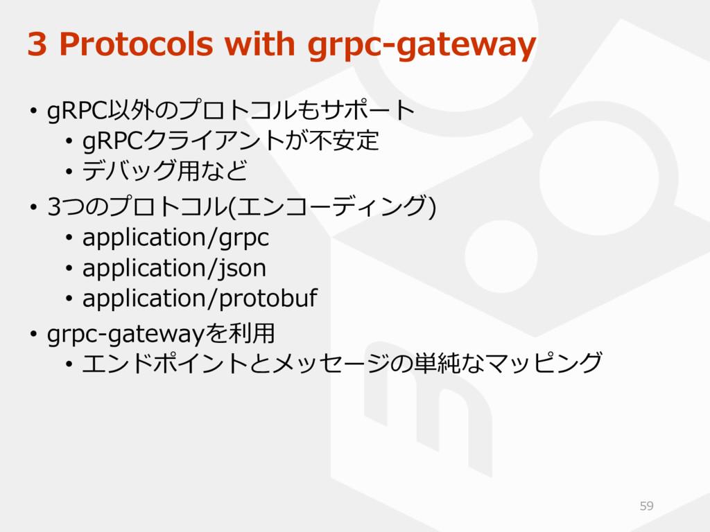 3 Protocols with grpc-gateway • gRPC以外のプロトコルもサポ...