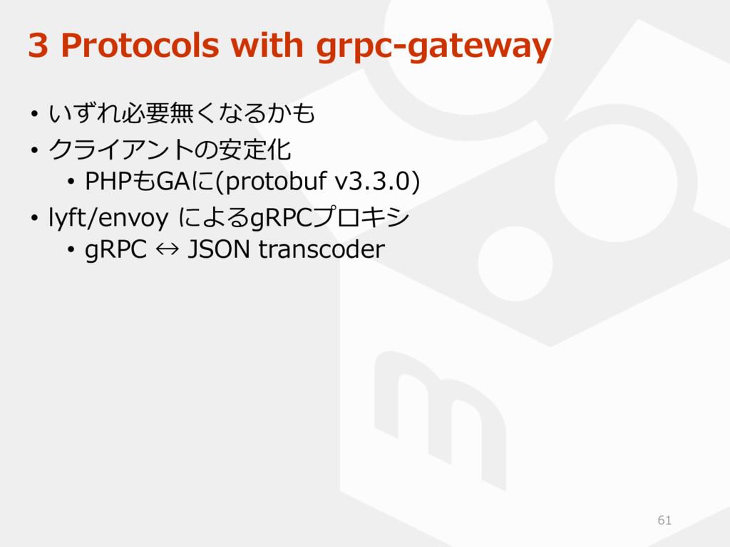 3 Protocols with grpc-gateway • いずれ必要無くなるかも • ク...