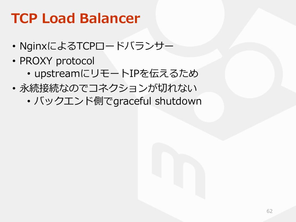TCP Load Balancer • NginxによるTCPロードバランサー • PROXY...
