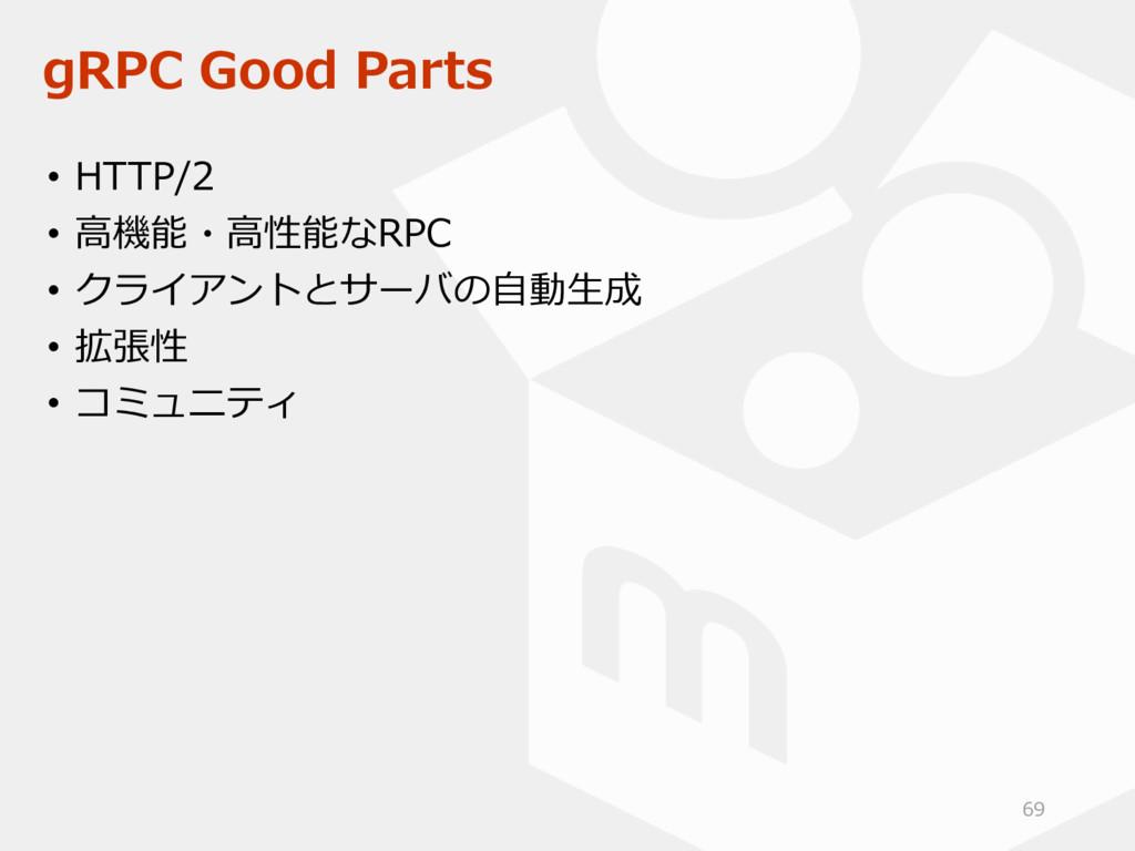 gRPC Good Parts • HTTP/2 • 高機能・高性能なRPC • クライアント...
