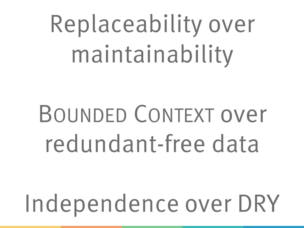 Replaceability over maintainability BOUNDED CON...