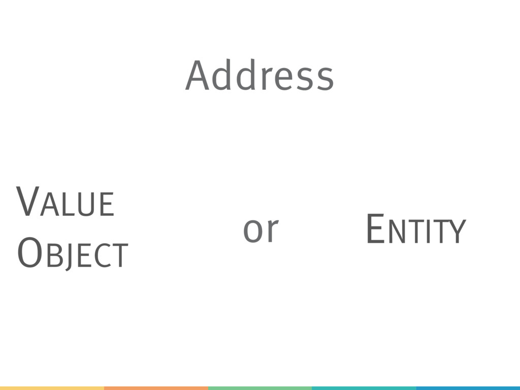 Address VALUE OBJECT ENTITY or