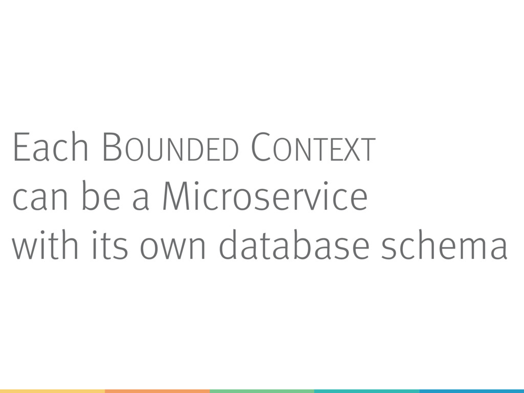 Each BOUNDED CONTEXT can be a Microservice with...