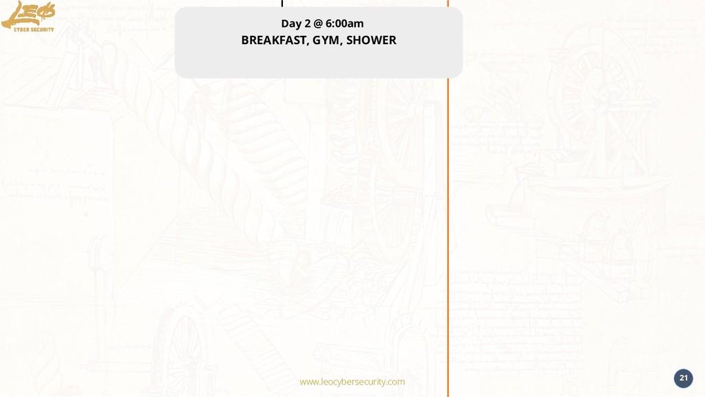 www.leocybersecurity.com 21 Day 2 @ 6:00am BREA...