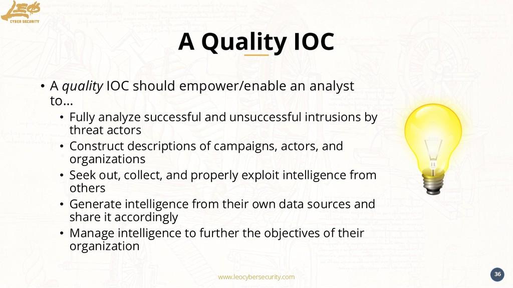 www.leocybersecurity.com 36 A Quality IOC • A q...