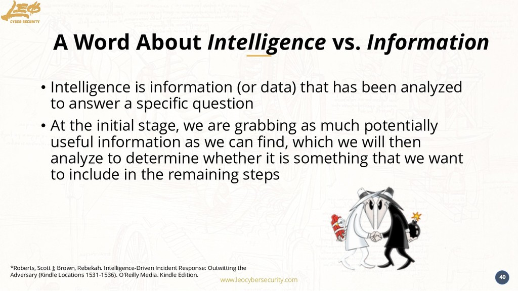 www.leocybersecurity.com 40 A Word About Intell...