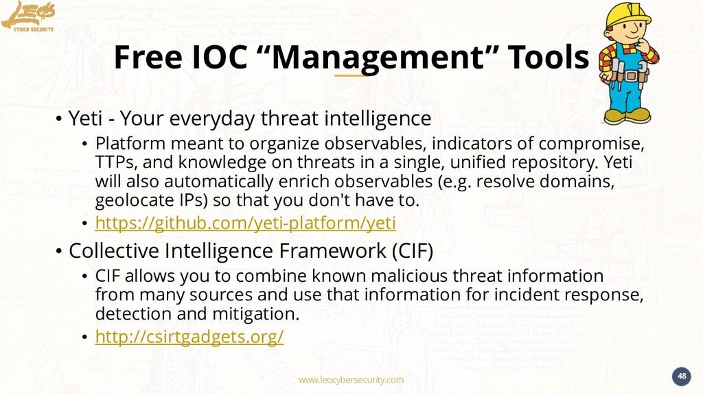 "www.leocybersecurity.com 48 Free IOC ""Managemen..."
