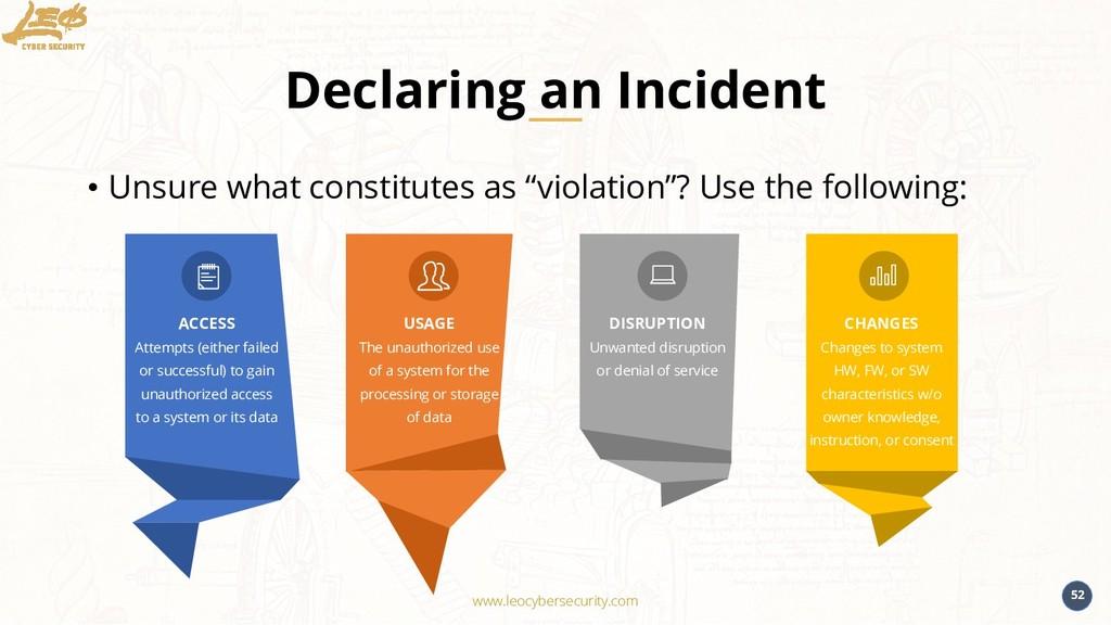 www.leocybersecurity.com 52 Declaring an Incide...