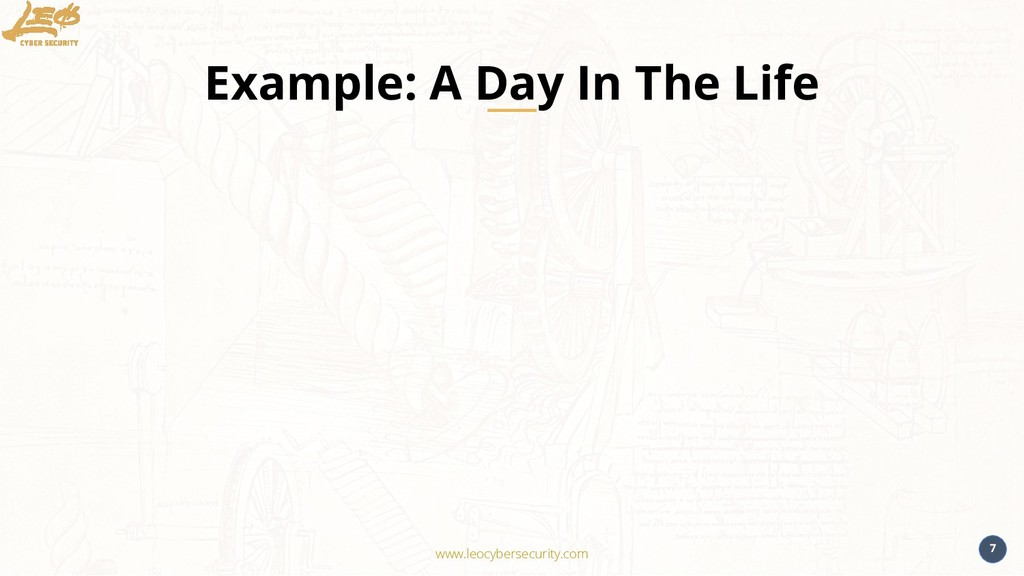 www.leocybersecurity.com 7 Example: A Day In Th...